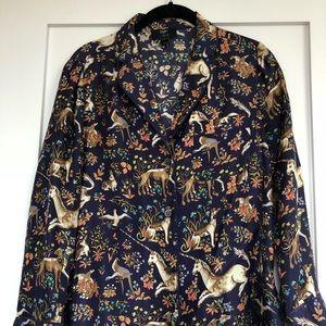 J. Crew X Drakes London Silk Unicorn Pajama Top